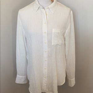 Free People White Sheer Crinkle Button Down Top